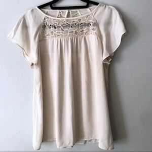 Anthropologie   Maeve Lace Trace Cream Tee